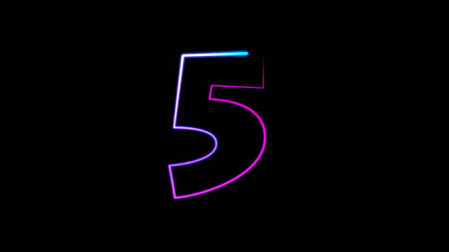 neon light numbers set from 0 to 10, laser ray appears on black background (loop 4k)) - number 5 stock videos & royalty-free footage