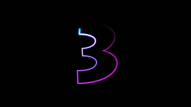 neon light numbers set from 0 to 10, laser ray appears on black background (loop 4k)) - number 3 stock videos & royalty-free footage