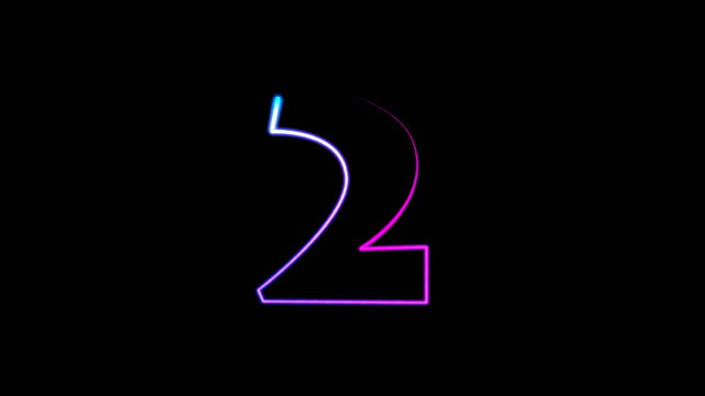 neon light numbers set from 0 to 10, laser ray appears on black background (loop 4k)) - number 2 stock videos & royalty-free footage