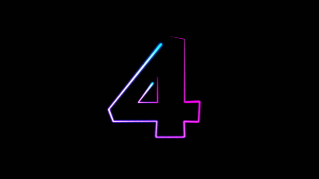 neon light numbers set from 0 to 10, laser ray appears on black background (loop 4k)) - number 4 stock videos & royalty-free footage