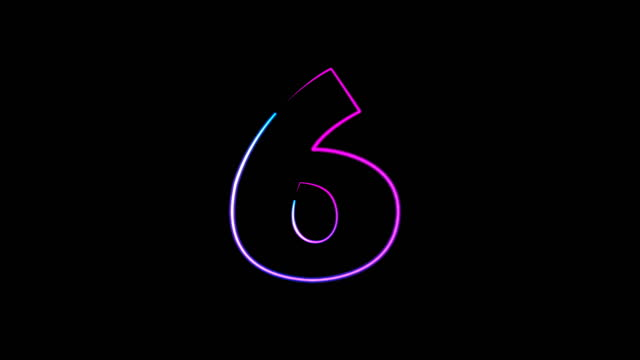 neon light numbers set from 0 to 10, laser ray appears on black background (loop 4k)) - number 6 stock videos & royalty-free footage
