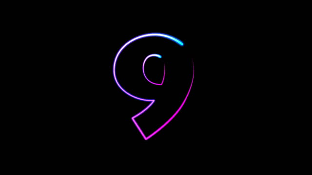 neon light numbers set from 0 to 10, laser ray appears on black background (loop 4k)) - number 9 stock videos & royalty-free footage