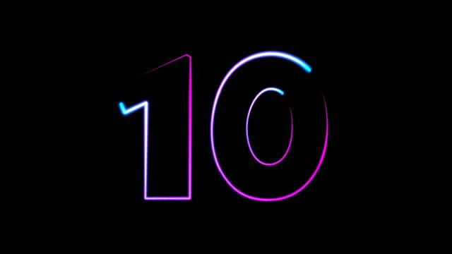vídeos y material grabado en eventos de stock de números de luz de neón establecidos de 0 a 10, rayo láser aparece en fondo negro (loop 4k)) - número 10