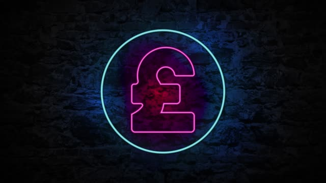 4k neon light pound sign animation on the brick wall - pound sterling symbol stock videos & royalty-free footage