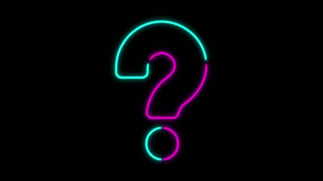 4k neon light question mark animation on black background - neon colored stock videos & royalty-free footage