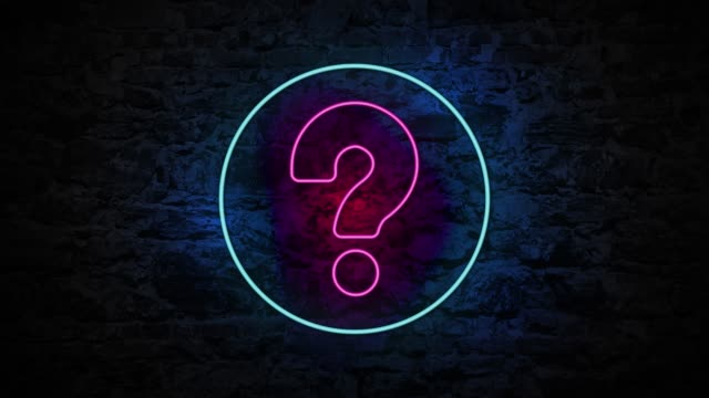 4k neon light question mark animation on the brick wall - neon colored stock videos & royalty-free footage