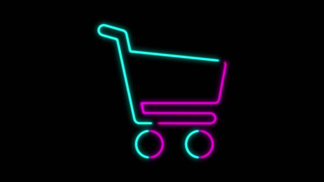 4k neon light shopping cart symbol animation on black background - saldi video stock e b–roll