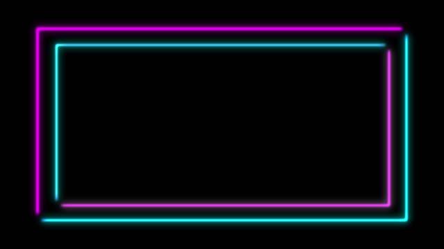 vídeos y material grabado en eventos de stock de 4k neon light square animation sobre fondo negro - marco