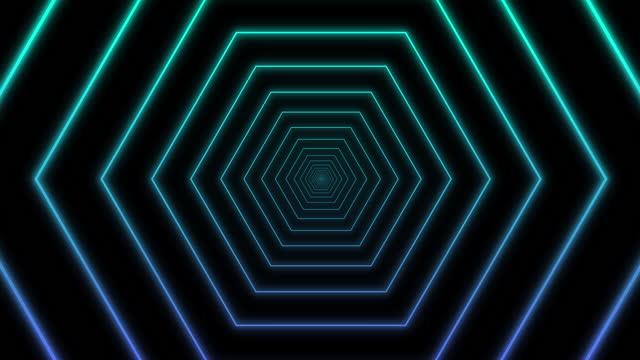 vídeos de stock, filmes e b-roll de 4k neon light tunnel hexágon shape loopable animation black background - hexágono