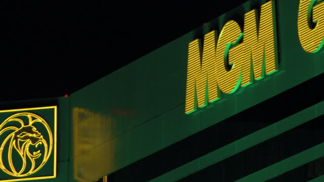 Neon lights illuminate the MGM Grand Hotel and Casino sign.