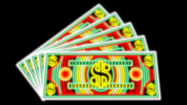 neon lights money (3 loops) - currency symbol stock videos & royalty-free footage