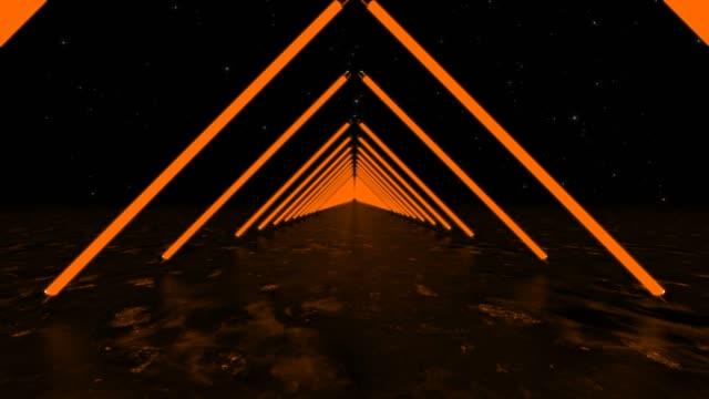 vídeos de stock, filmes e b-roll de néon loopable triângulos - triângulo formato bidimensional