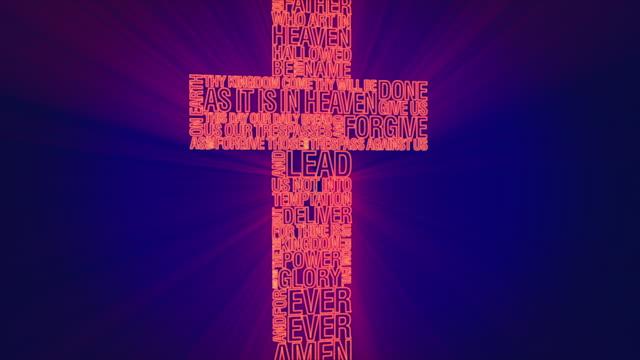neon lord's prayer cross - religious cross stock videos & royalty-free footage