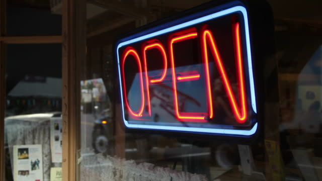 ms cu neon open sing on window / wickenburg, arizona, usa - small town stock videos and b-roll footage