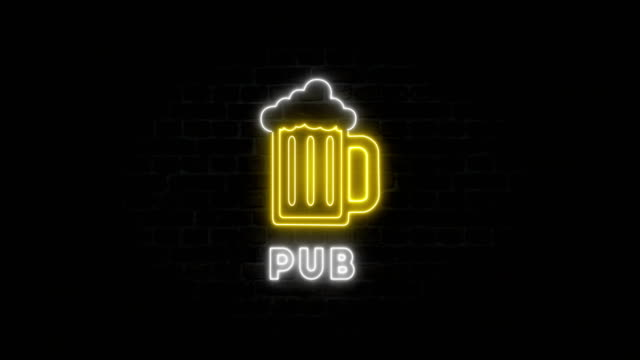 neon pub on the wall - casino sign stock videos & royalty-free footage