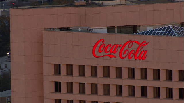 A neon sign advertises for Coca-Cola on Coca-Cola Plaza in Atlanta, Georgia.