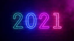 2021 neon sign background new year concept. Happy New Year. Brick background. Modern ultraviolet blue purple neon light. Flicker light