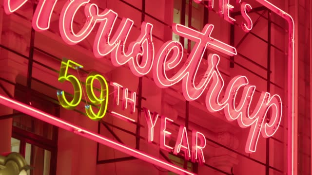 cu neon sign for 'the mousetrap', london - capital letter stock videos & royalty-free footage