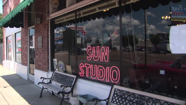 WS Neon sign in window of Sun Studio, Memphis, Tennessee, USA