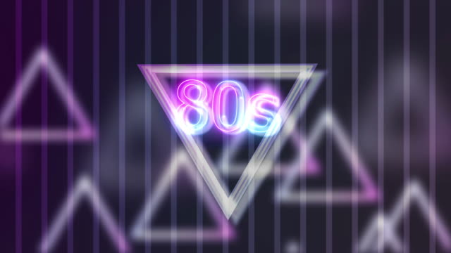 vídeos de stock e filmes b-roll de neon sign lights 80s on triangle abstract background animation - 1980