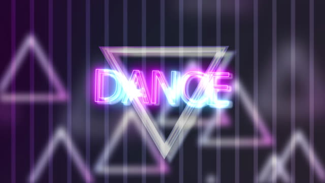 Neon Sign Lights Dance On Triangle Abstract Background Animation