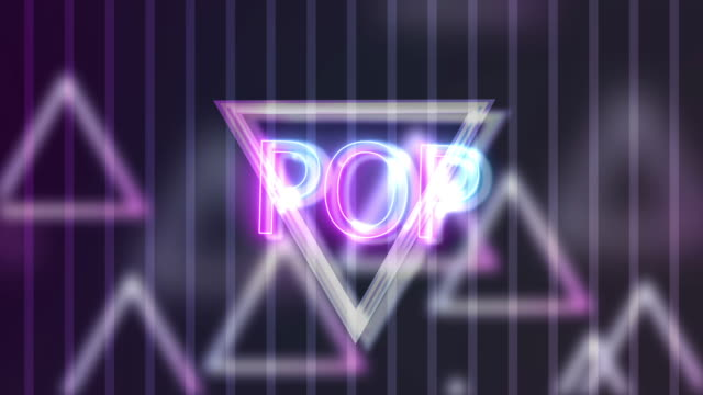 vidéos et rushes de neon sign lights pop sur triangle abstract background animation - k pop