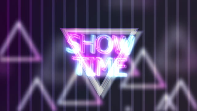 vídeos de stock e filmes b-roll de neon sign lights show time on triangle abstract background animation - old illustration