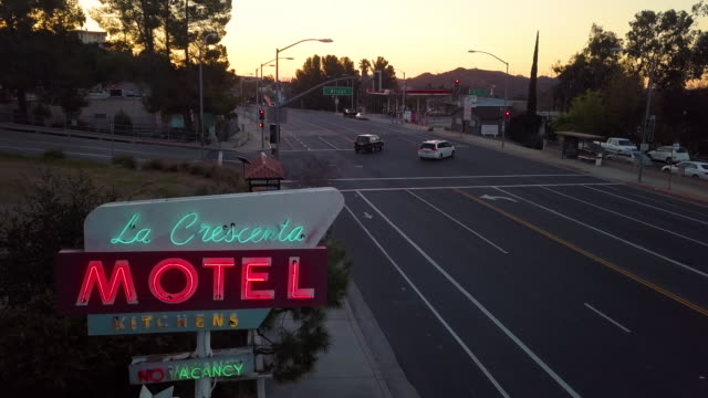 neon sign of la crescenta motel on foothill boulevard in the city of la crescenta california a suburb of los angeles this vintage sign is actually in... - neon stock videos & royalty-free footage