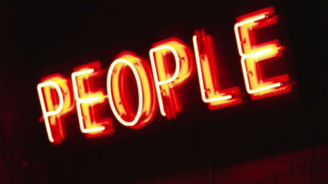 cu neon sign saying people / provo, utah, usa - provo stock-videos und b-roll-filmmaterial