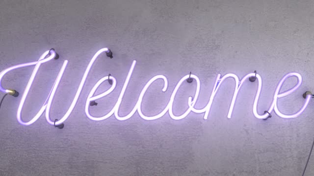 Neon sign spelling the word Welcome this realistic sign starts when the sign is off then it turns on with amazing flashing flickering effects, then after 30 seconds it flashes on and off