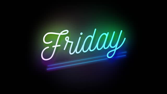4k neon sign style flashing friday title. motion animation. render 4k fullhd and hd video footage. - stock video - friday stock videos & royalty-free footage