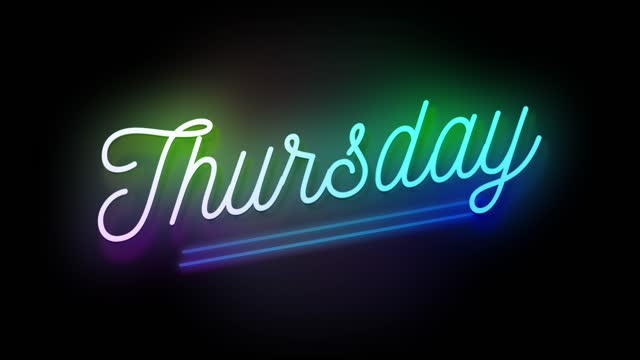 4k neon sign style flashing thursday title. motion animation. render 4k fullhd and hd video footage. - stock video - week stock videos & royalty-free footage