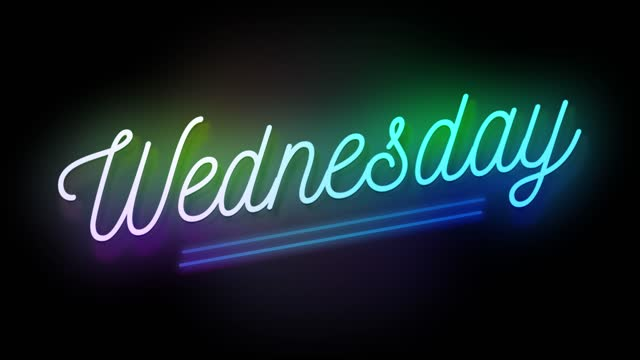 4k neon sign style flashing wednesday title. motion animation. render 4k fullhd and hd video footage. - stock video - week stock videos & royalty-free footage