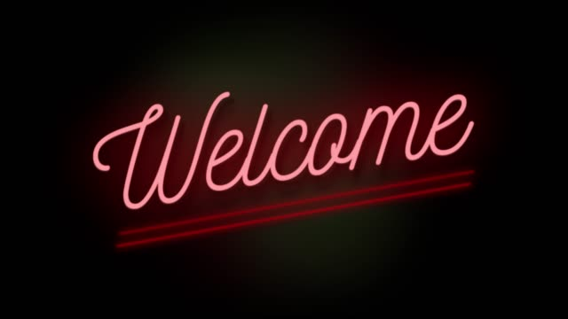 4k neon sign style flashing welcome title. motion animation. render 4k fullhd and hd video footage. - stock video - welcome sign stock videos & royalty-free footage