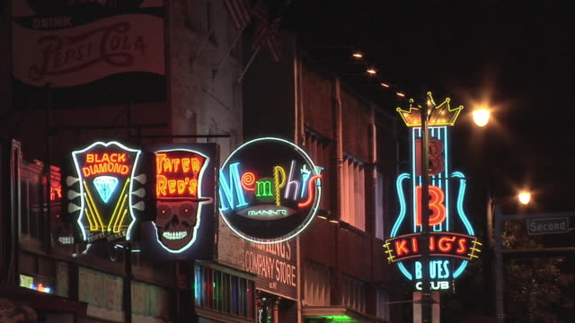 ms neon signs of establishments in beale street / memphis, tennessee, usa - memphis tennessee stock videos and b-roll footage