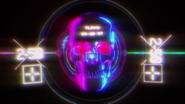 ネオンスカルグリッチ背景 - ネオンカラー点の映像素材/bロール