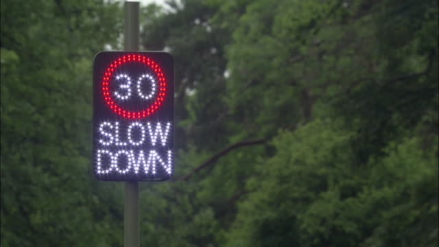 cu, neon speed limit sign, united kingdom - speed limit sign stock videos & royalty-free footage