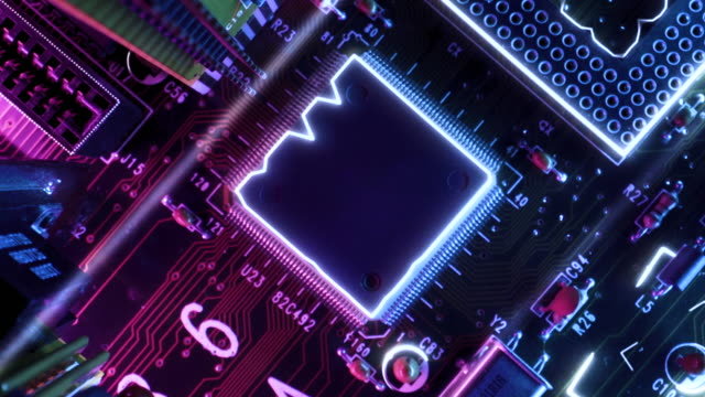 neon themed circuit board processing data information concept - electronics industry stock videos & royalty-free footage