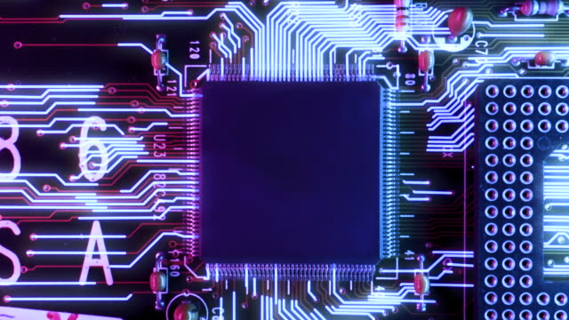 neon themed circuit board processing information concept - machine part stock videos & royalty-free footage