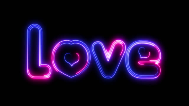 neon title - love. love. valentines day. wedding. neon text with shadow. - world title stock videos & royalty-free footage