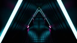 Neon tunnel 3d render abstract background 4k