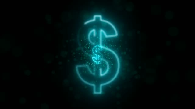 neon turquoise loop dollar sign background with particles - dollar symbol stock videos & royalty-free footage