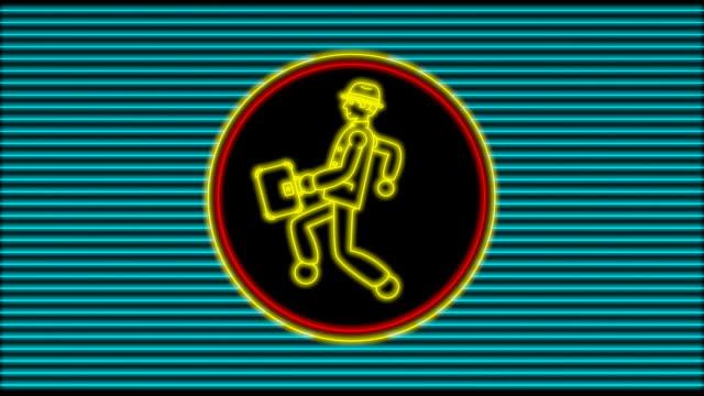 Neon-Walking Geschäftsmann (4 loops)