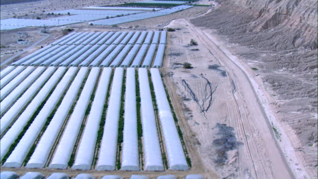 AERIAL Neot Hacicar Agricultural area in the Negev Desert, Israel