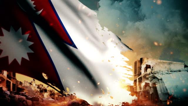 4k nepal flag - krise / krieg / feuer (loop) - nepal stock-videos und b-roll-filmmaterial