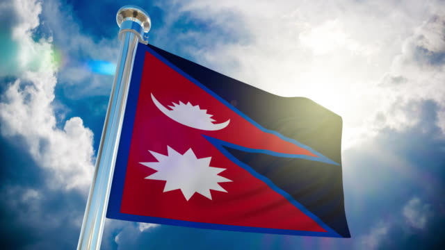 4k - nepal flag | loopable stock video - nepali flag stock videos & royalty-free footage