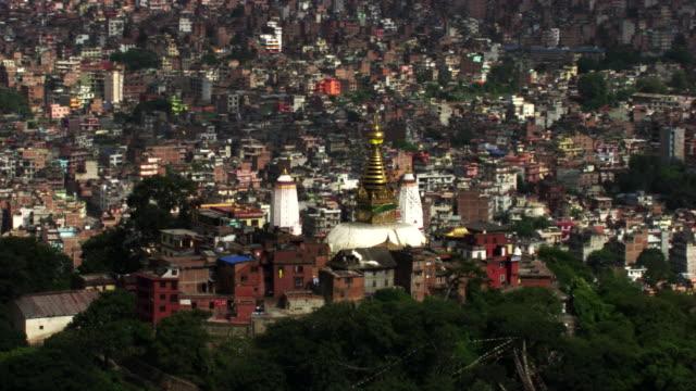 nepal : temple and wide plan of kathmandou - kathmandu stock videos & royalty-free footage