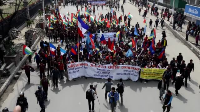 nepalese police saturday fired teargas and water cannon at thousands of opposition supporters who converged on the capital to protest controversial... - water cannon stock videos & royalty-free footage
