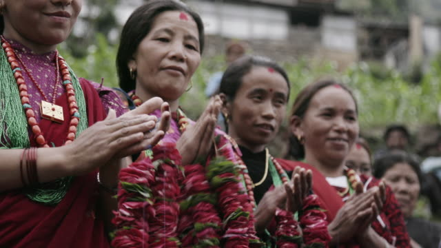 nepalese women in traditional garb, close up - nepal stock videos & royalty-free footage