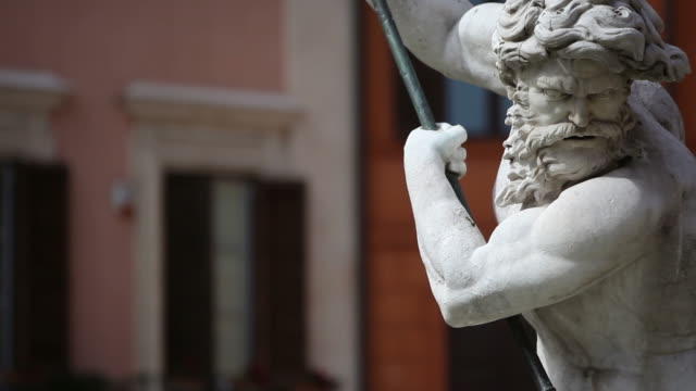 neptune statue masterpiece in rome - statue stock videos & royalty-free footage
